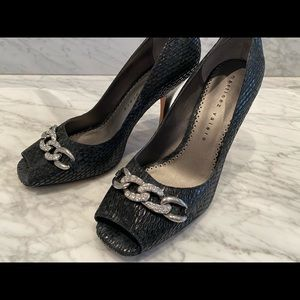 Martinez Valero Open Toe Black Snakeskin Pumps